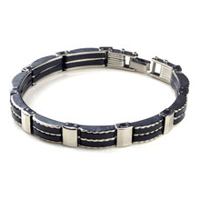 Cool Silver & Black Color Stainless Steel Embedded Bracelets Bangles Men Jewelry Fashion Man Bracelet Bangle