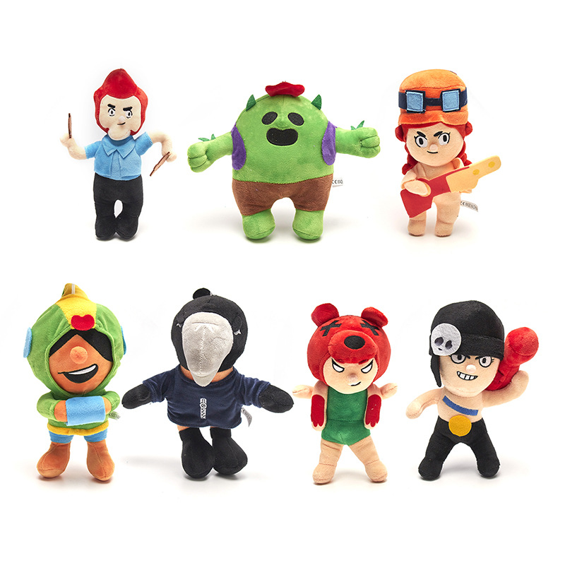 7PCS Brawl Games Cartoon Star Hero Figure Anime Model Disney Spike Shelly Leon Action Figure Doll Toy Kids Birthday Gift