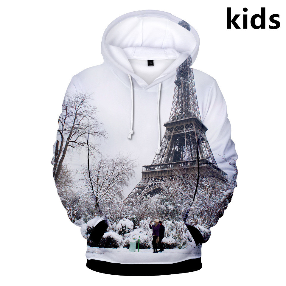 3 To 14 Years Kids Hoodies France Paris Eiffel Tower 3D Hoodie Sweatshirt Boys Girls Casual Cartoon Jacket Coat Children Clothes