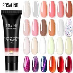 ROSALIND Pure Color Poly Nail Gel Jelly Polish 15ml Hybrid Varnishes Gel Nails Art Design Glitter Nail Polish UV Builder Lacquer