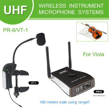 PR-8/VT-1 Professional Stage Wireless Instrument Microphone With Reverb Function For Acoustic Bass