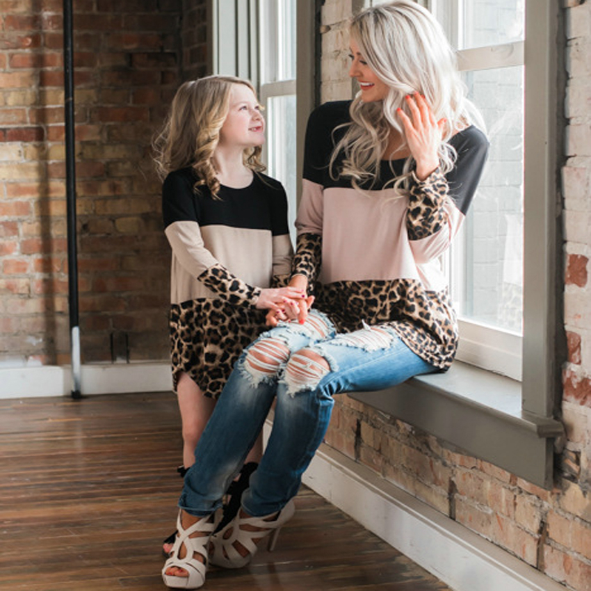 Mommy And Me Dress Sets Leopard Pattern Lace Mum Girl Dress Mother Daughter Matching Dresses Autumn Plus Large Size Fat Clothes