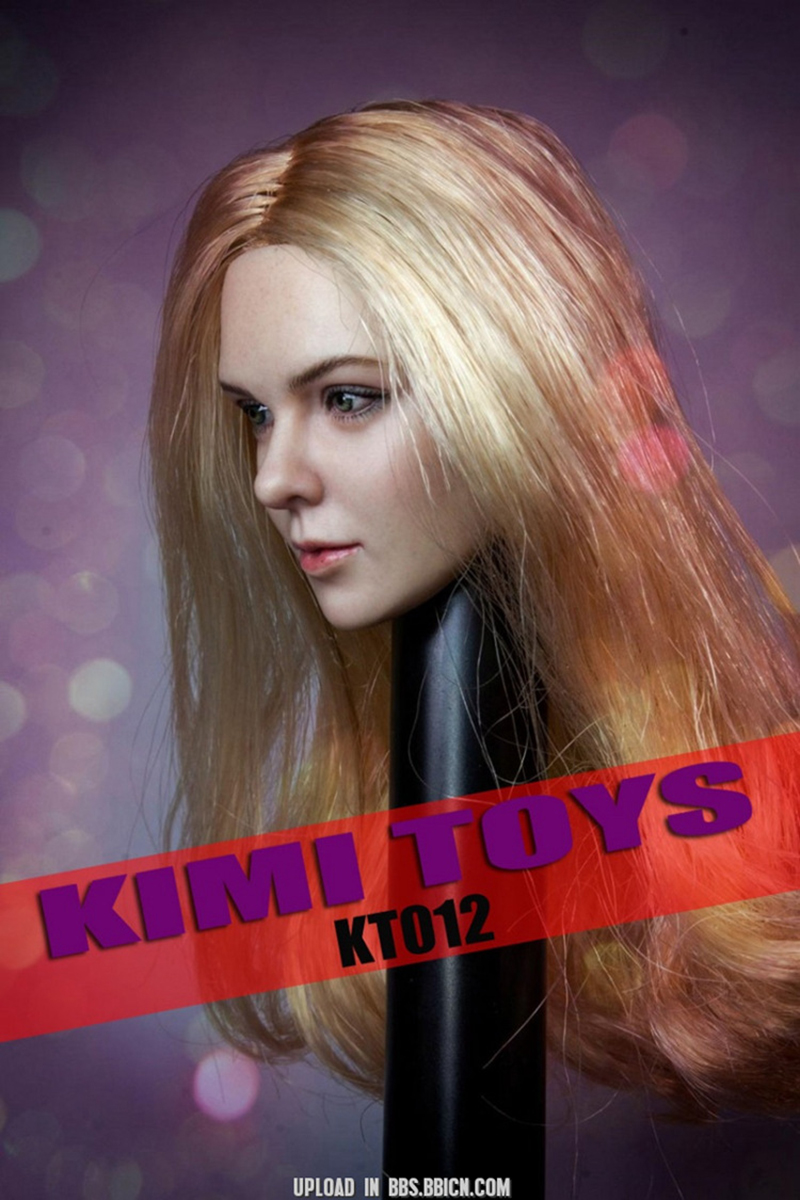 "Stock 1//6 Suntan Female Head Long Blonde Hair European Girl F 12/"" Figures U.S"