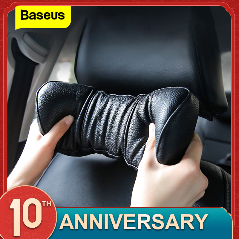 Baseus PU Leather Car Neck Pillow Spring Cushioning Adjustable Auto Memory Foam Car Headrest Pillow Rest Seat Neck Pillows