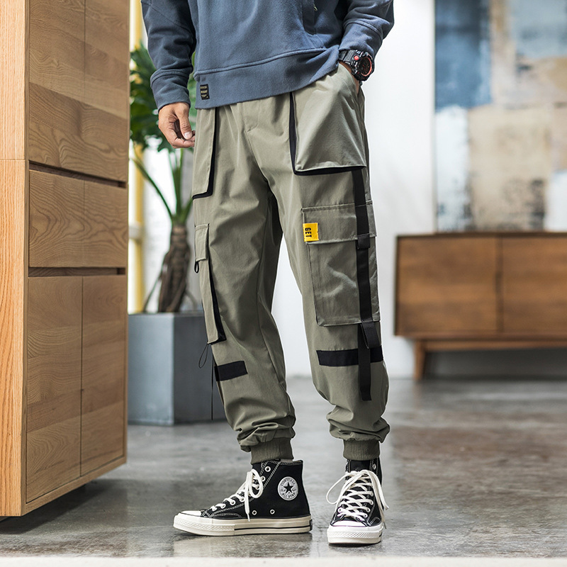 Activity-2019 Autumn Japanese-style Casual Skinny Casual Long Pants Fashion Man Green