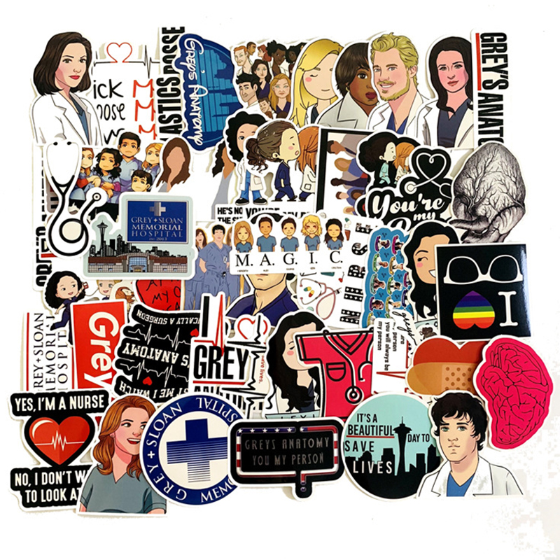 50pcs TV Show Greys Anatomy Waterproof Stickers Kids Toy Sticker For DIY Luggage Laptop Skateboard Car Decor Funny Sticker F3