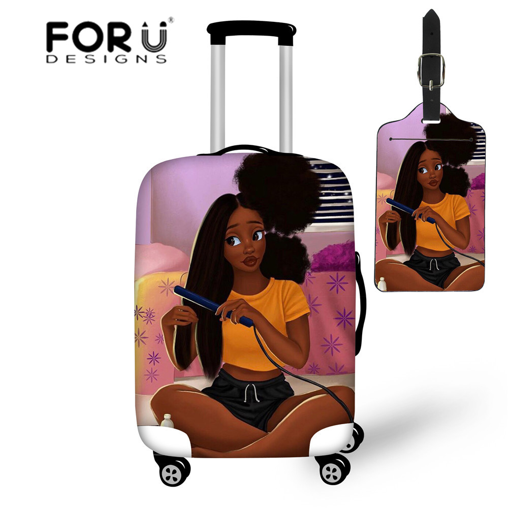 FORUDESIGNS Travel Suitcase Cover For Black Girls African Design Luggage Accessories Bag Women Elastic Trolley Covers 18-30 Inch