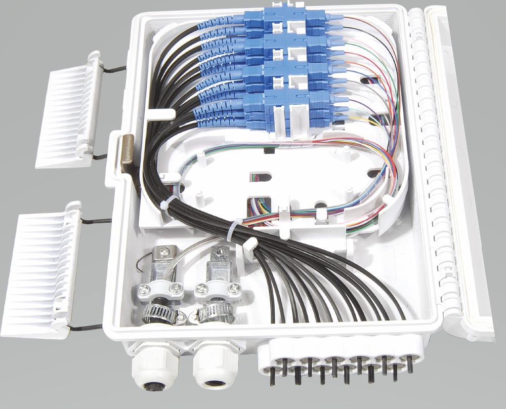 FTTH 12 Cores Fiber Termination Box 12 Port 12 Channel Splitter Box Indoor Outdoor Fiber Splitter Box ABS Optical Terminal Box