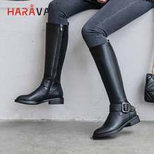 HARAVAL Fashion Luxury long Boots Winter Simple Joker Solid Color Knight genuine leather Flats Comfortable Women BootsB230