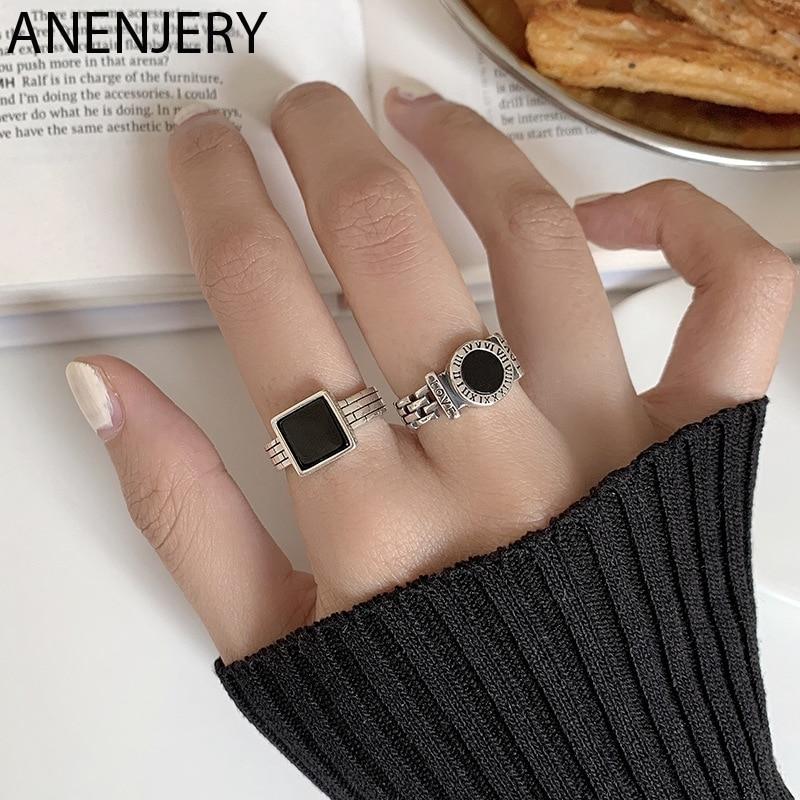 ANENJERY rétro 925 argent Sterling noir goutte glaçure rond carré ouvert anneaux pour femmes hommes chiffre romain anneaux cadeaux S-R957