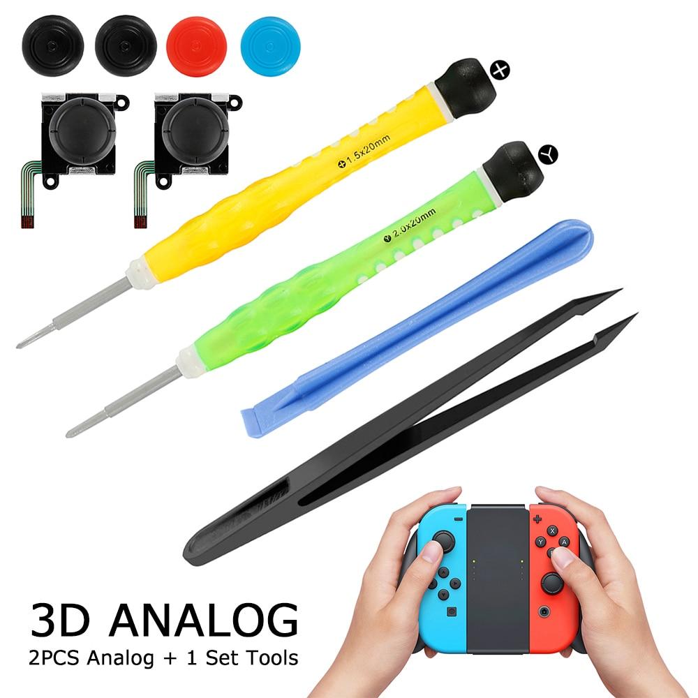 Два набора аналоговых 3D джойстика Joy con, замена джойстика для Nintendo Switch, джойстик joycon, совместимый с левым джойстиком