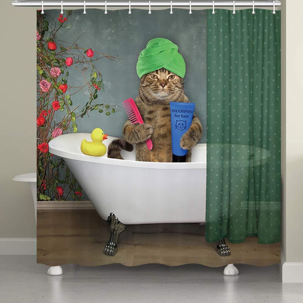 GAY Mermaid Love Bathroom Decor Shower Curtain Liner Waterproof Fabric /& 12 Hook