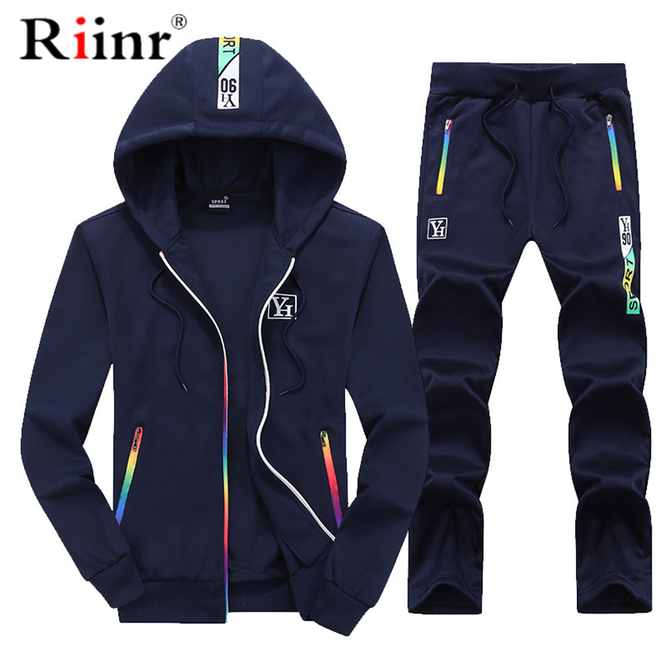 Riinr 2019 Fashion New Arrival Men's Tracksuit Spring And Autumn Casual Jacket+Pants Hoodie Two Pieces Set Men Sporting Suit