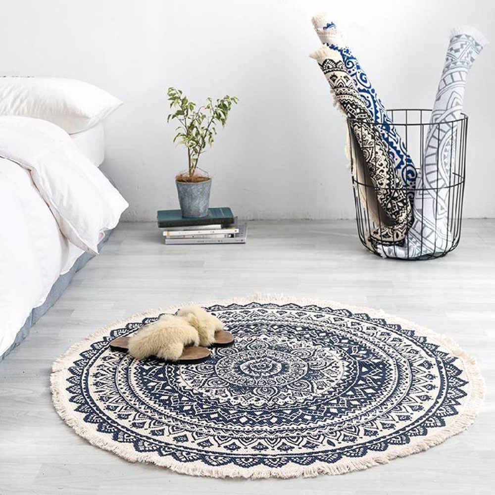Modern yatak odası püskül pamuk tarzı yuvarlak halı oturma odası dekorasyon el dokuması ulusal klasik goblen çocuk kanepe mat