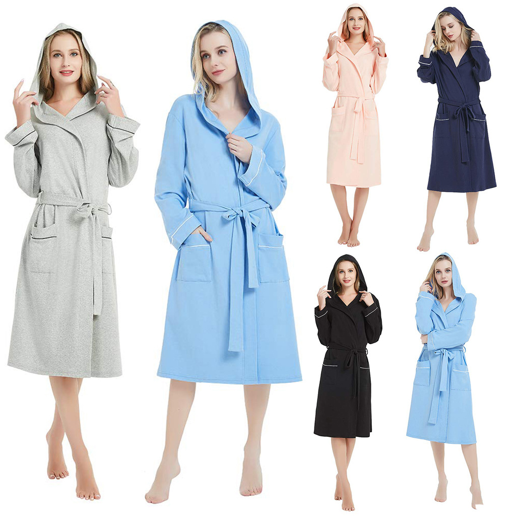 High Quality Spring And Autumn Women Robes Plus Size Simple Knit Cotton Hooded Bathrobe Female Thin Long Sleeve Bath Robe 5XL