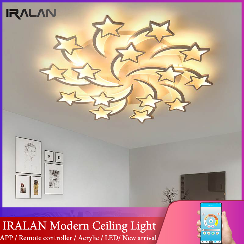 IRALAN modern led chandelier art deco room indoor lamp white star for living room dining room bedroom kid's room kitchen remote-in Chandeliers from Lights & Lighting