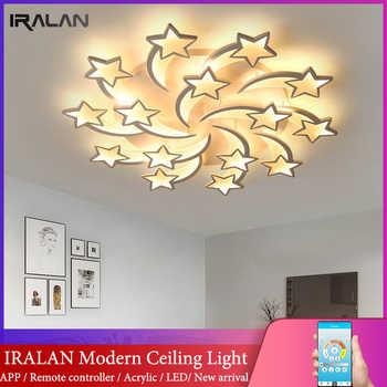IRALAN modern led chandelier art deco room indoor lamp white star for living room dining room bedroom kid\'s room kitchen remote - DISCOUNT ITEM  50 OFF Lights & Lighting