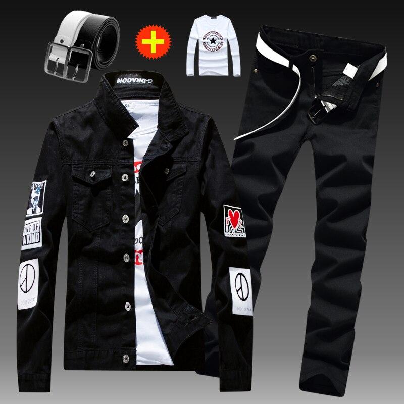 New Mens Denim Jacket Pencil Pants 2pcs Set Pattern Printing Casual Trousers Coat Men's Sets X222