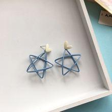 Забавные Синие Большие серьги звезды Висячие креативные дизайнерские
