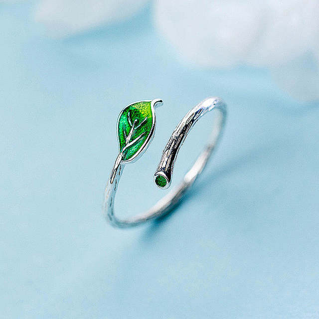 Real 925 Sterling Silver Green Enamel Leaf Vintage Adjustable Ring Elegant Fine Jewelry For Women Party Accessories Gift