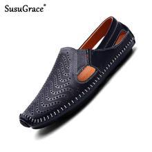 Susugrace verão homens de couro casual mocassins apartamentos brancos deslizamento na unidade sapatos sandálias preto macio mocassins ao ar livre mais tamanho 38-47