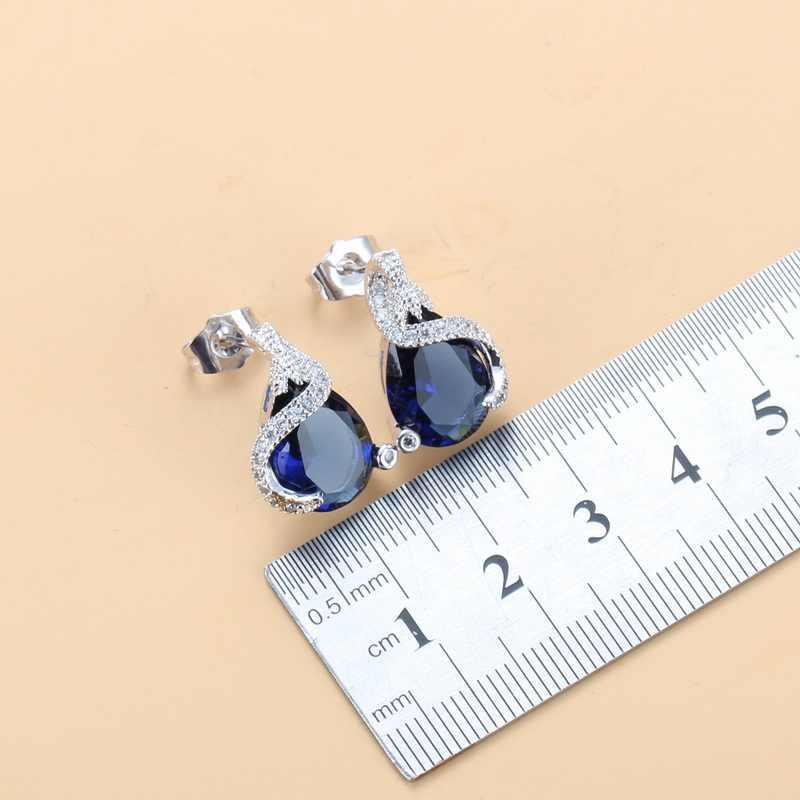 Gota de água azul zircônia cúbica brilhantes conjuntos de jóias brincos/colar/pingente/anel para acessórios femininos