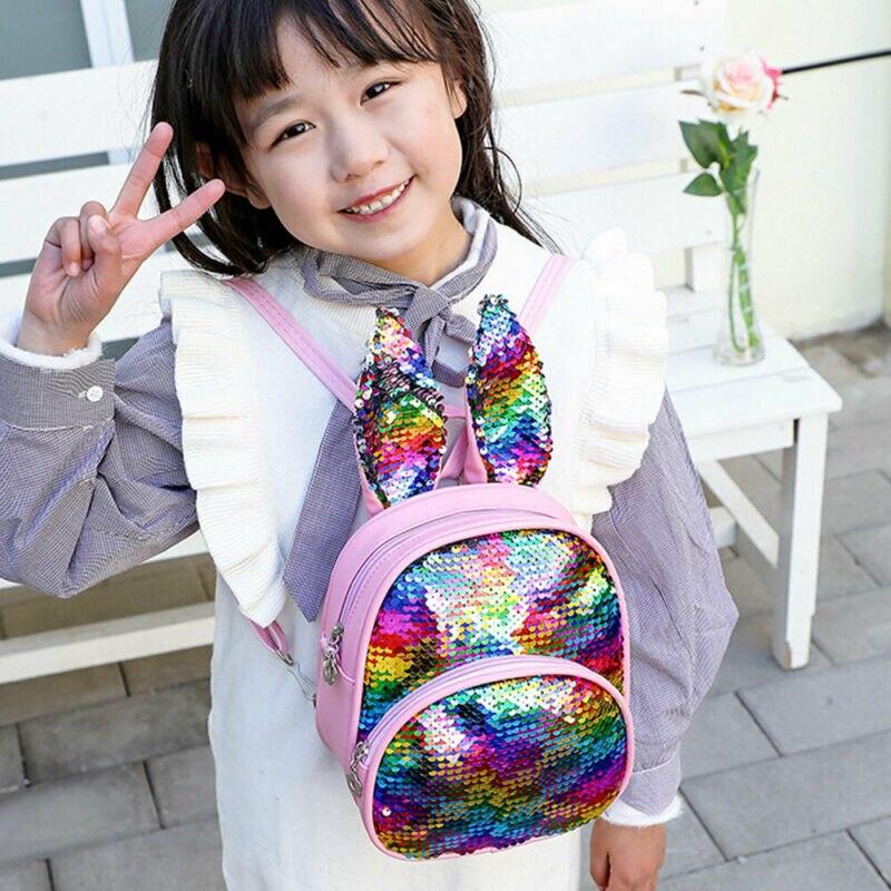 Sequin Children Kids Rabbit Ears Backpack School Bag Kindergarten Boys Girl School Bag Rucksack 18x22x10cm Backpack Rucksack