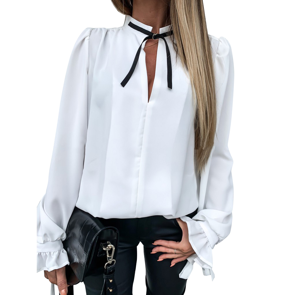 Autumn Women White Shirts Puff Sleeve Blouse And Tops Elegant Office Ladies Bowknot Stand Collar Shirts Long Sleeve Camisa D30