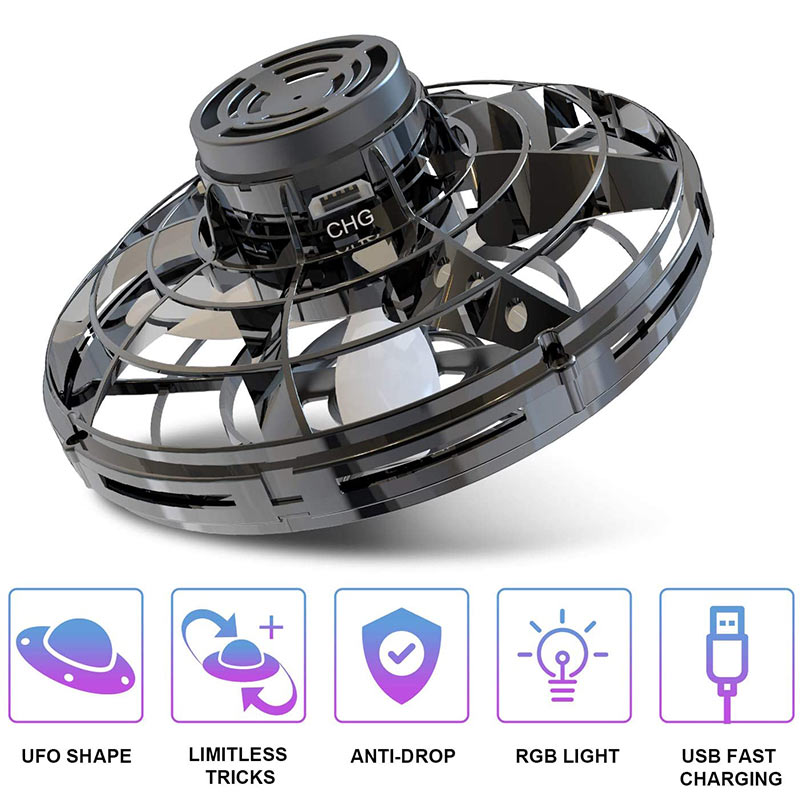 Mini Drone Type Flying Helicopter Spinner  Fingertip Upgrade Flight Gyro Drone Aircraft Toy Adult Kids Gift
