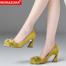 MORAZORA 2020 Summer popular party wedding shoes square toe high heels