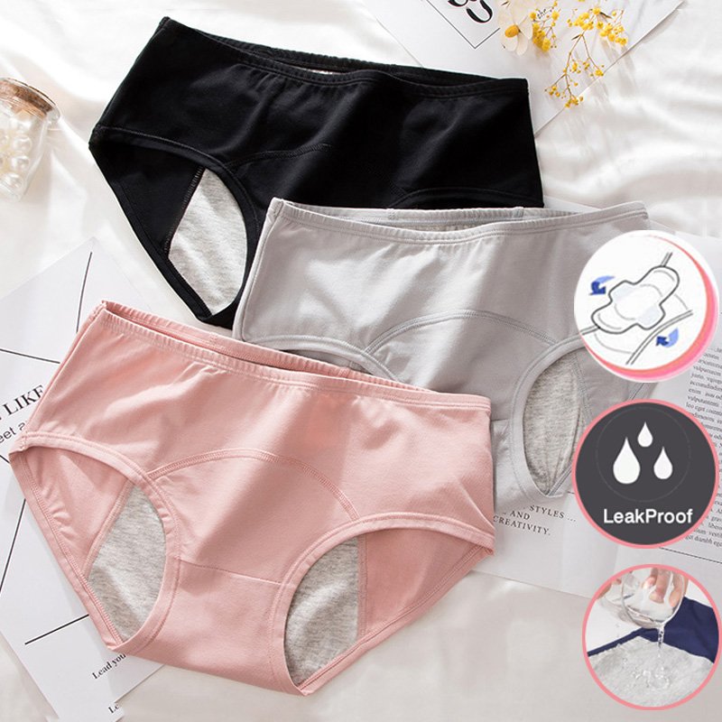 CINOON Leak Proof Menstrual Period Panties Women Underwear Physiological Pants Cotton Briefs High Waist Warm Female