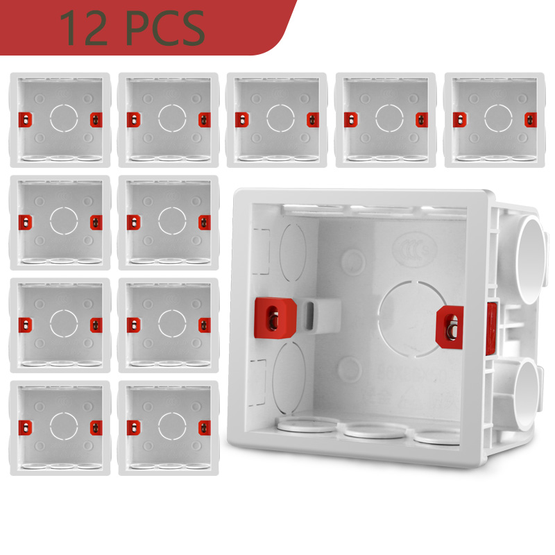 Adjustable 86 Switch Socket Box,Mount Back Box Plasterboad 50mm Depth Wall Switch Wall Socket Mounting Cassette BOX,PVC,12 PCS