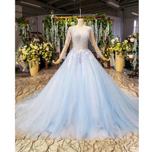 BGW 2183htt yığın abiye çin uzun kollu O boyun Illusion geri basit elbise düğün parti için kadın elbiseleri Robe Soiree