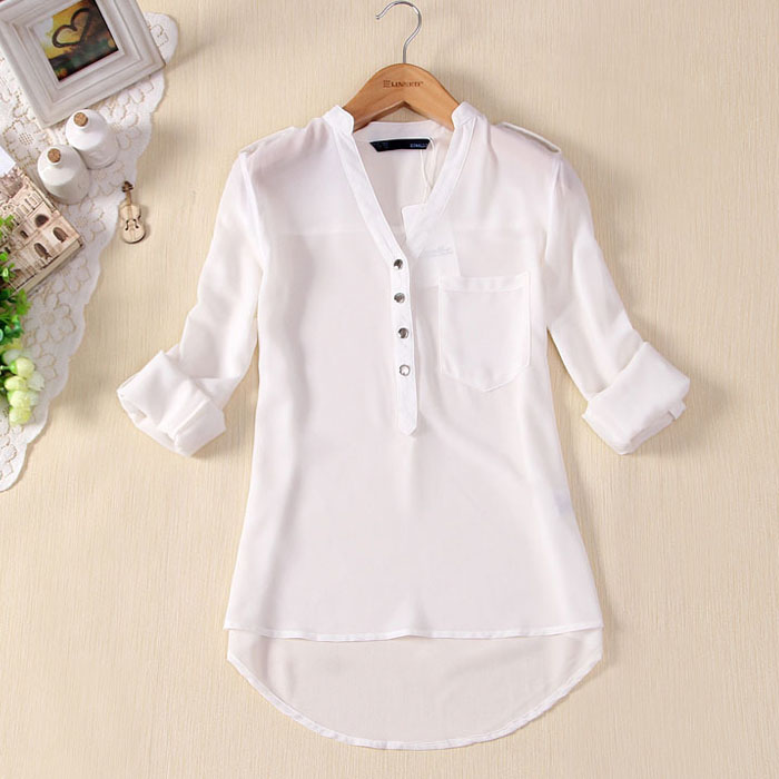 Women V-Neck Chiffon Long Sleeve Casual Shirt Blouse Spring Summer Solid Color Formal Shirt Cardigan Bottom Blouse For Women