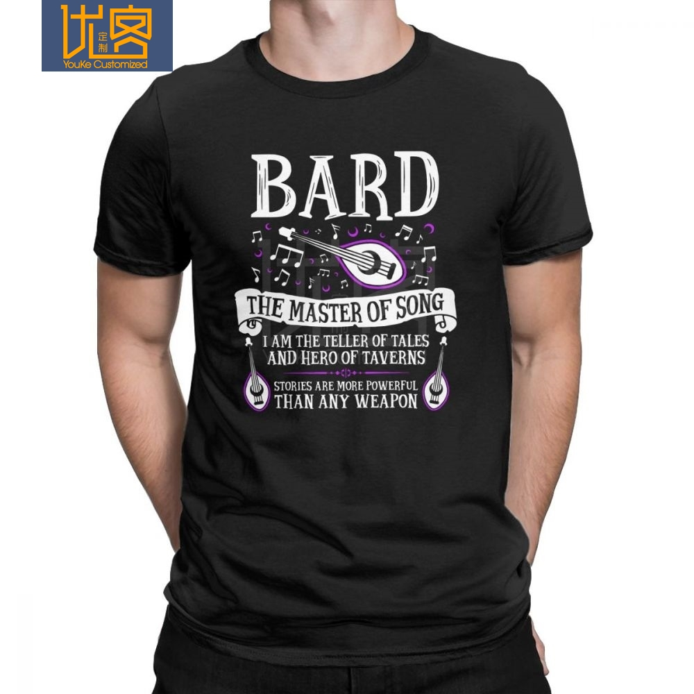 Dungeons And Dragons DnD Hipster T Shirt For Men Bard The Master Of Song Clothes Big Size Tees 100% Cotton Crewneck T-Shirt