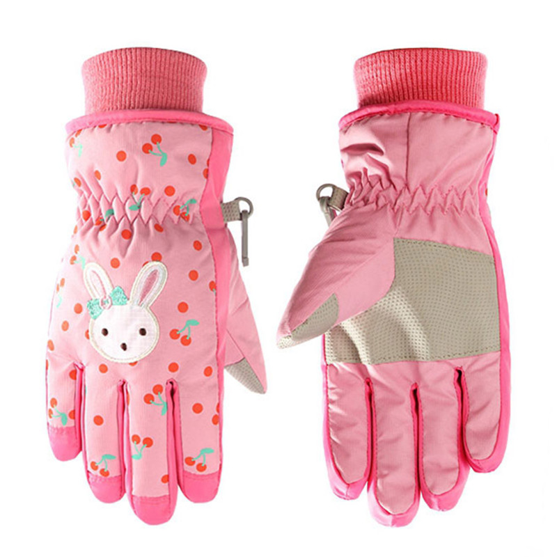 Skiing Gloves Kids Winter Warmest Waterproof Snow Ski Gloves Mittens Extended Wrist For Boys Girls Princess Children Youth