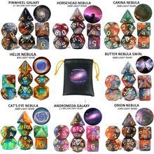Высокое качество космическая галактика концепция игральные кости 7 шт. ролевые игры настольные аксессуары 8 тем Рождественский подарок настольные игральные кости