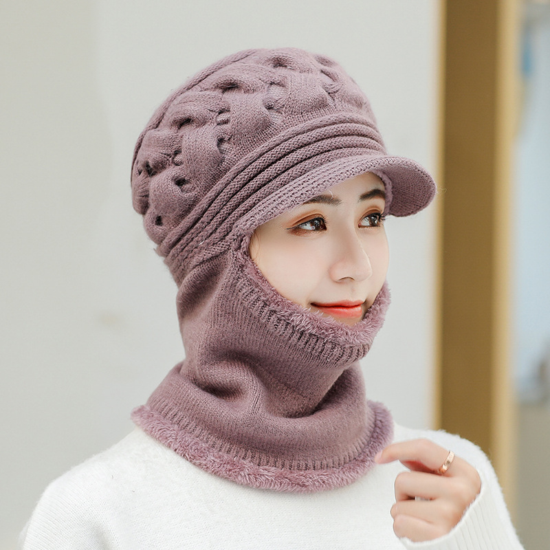Sparsil Women Winter Rabbit Hair Knitted Beanie Skullies Autumn Thicken Scarf Outdoor Neck Warm Fur Collar Ear Protect Flat Cap