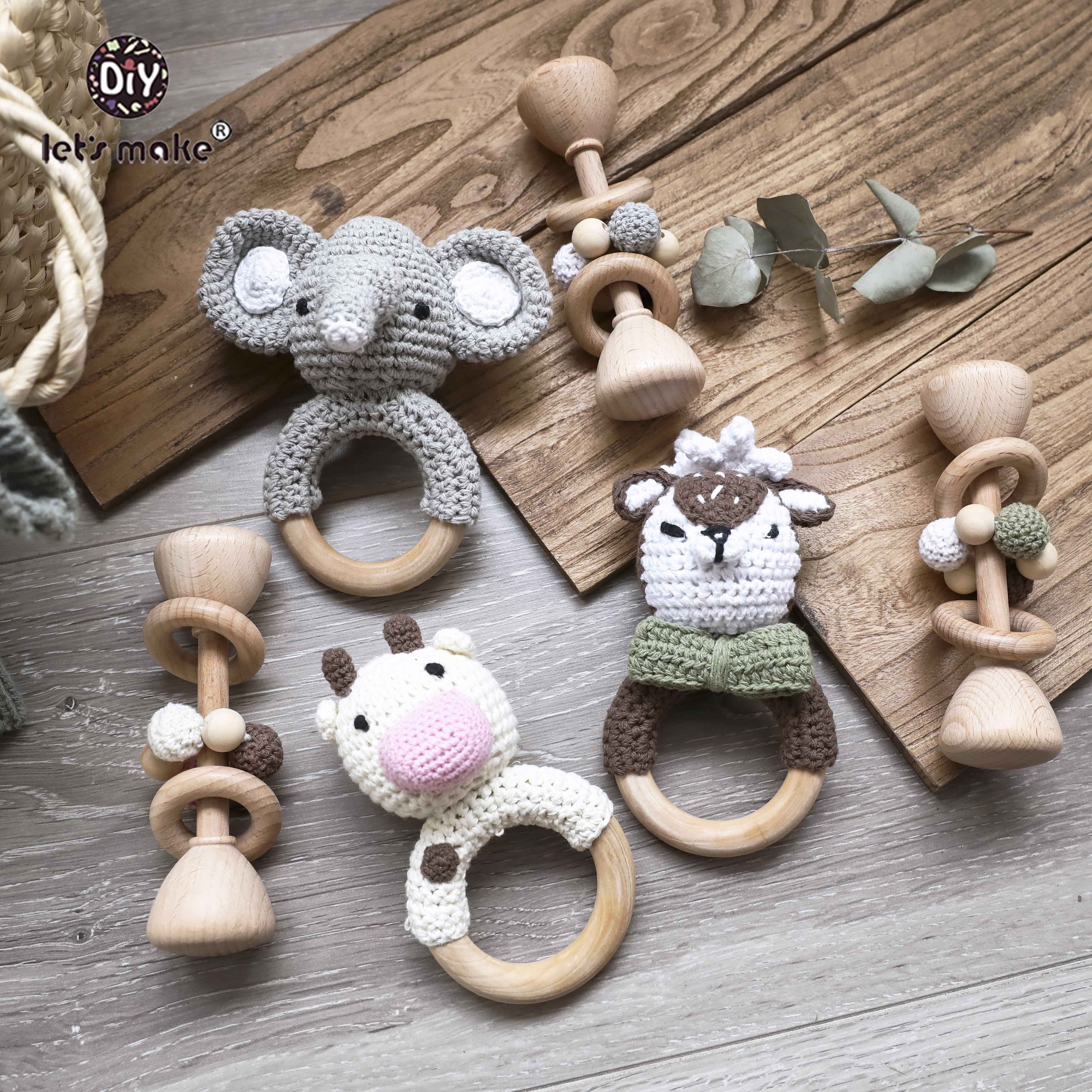 Let's Make 2pcs Wooden Baby Toys Set Wooden Beads Woven Wood Ring Kit Gym Wood Animal Rattles Wooden Teether BPA Free Kids Toys