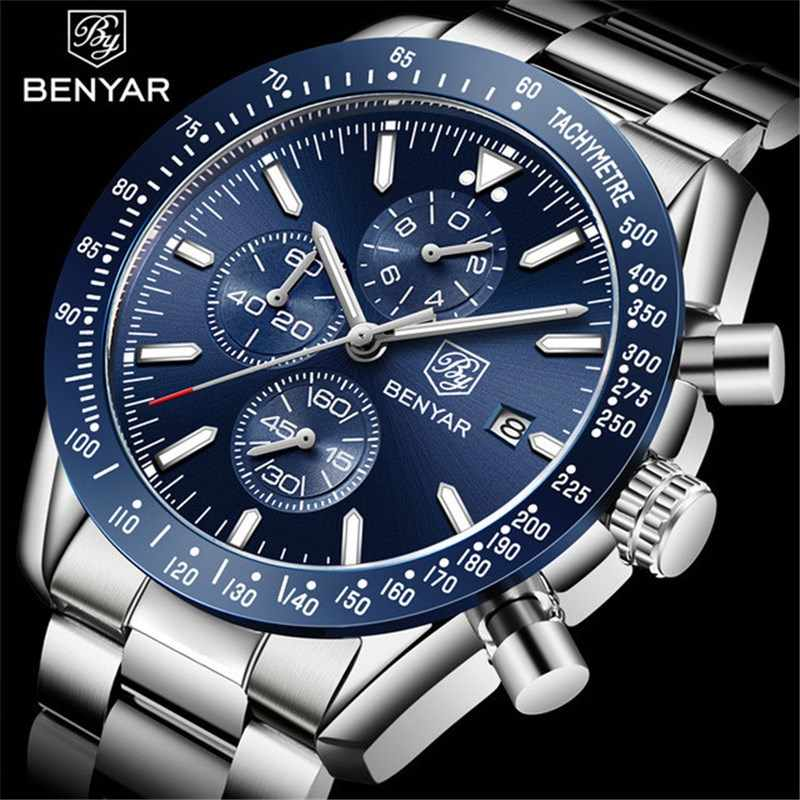 BENYAR 2019 Mens Watches Top Luxury Brand Business Steel Quartz Watch Casual Waterproof Male Wristwatch Relogio Masculino