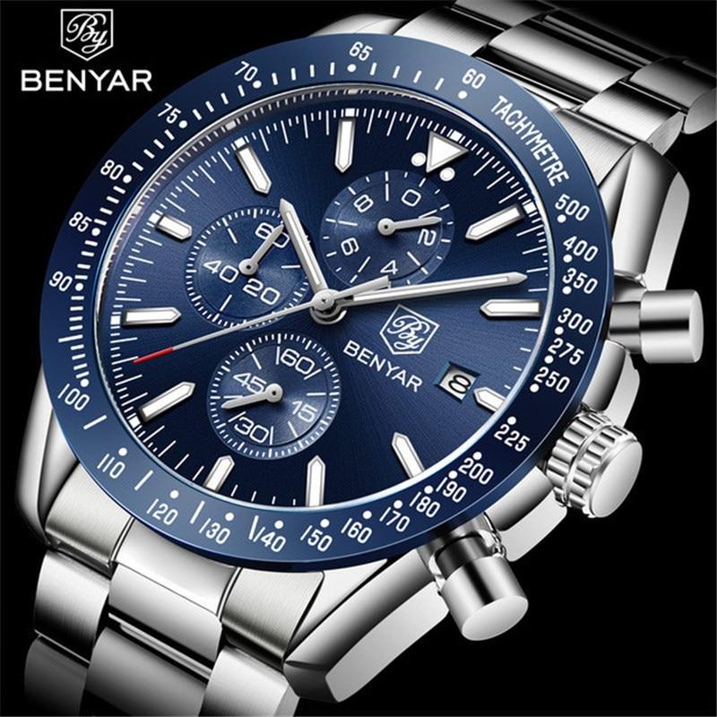 BENYAR 2019 hommes montres haut de gamme marque d'affaires en acier montre à Quartz décontracté étanche mâle montre-bracelet Relogio Masculino