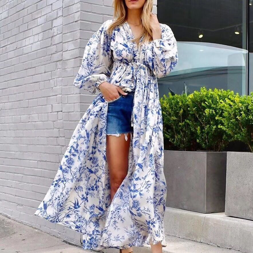 Holiday Vacation Dress 2020 Spring Summer V neck Long Sleeve Blue Floral Print Front Split Boho Maxi LOng Dress image