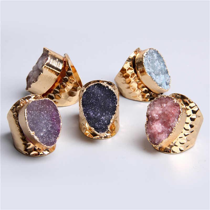 1pc คริสตัลแหวน agates druzy แหวนผู้หญิงผู้ชายควอตซ์คริสตัล geode แหวนปรับธรรมชาติควอตซ์หินแหวน