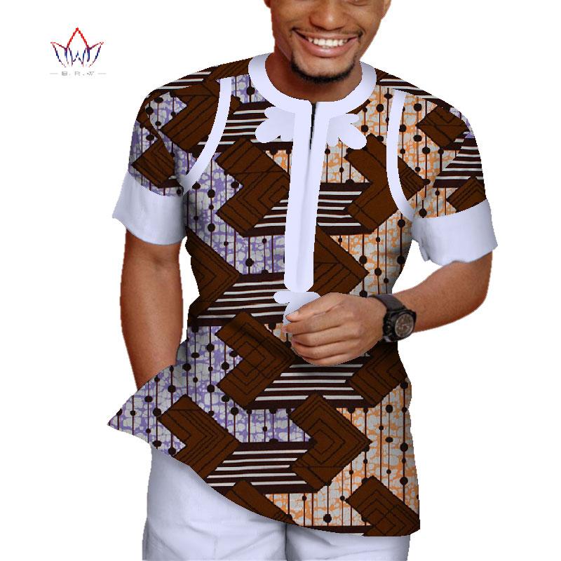 2 pièces ensemble hommes chemise haute et pantalon pantalon ensemble Bazin Riche africain hommes vêtements coton imprimé Patchwork manches courtes Dashiki WYN943