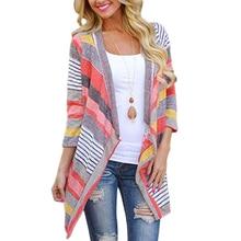 ADISPUTENT 2019 New Arrival Women Cardigan Loose Sweater Long Sleeve Cotton Stripe Outwear Knitted Jacket Coat Tops Hot Sale