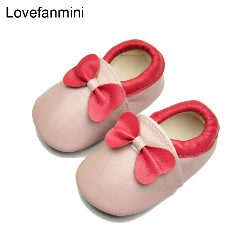 Baby Shoes Soft Genuine Sheepskin Leather Baby Boys Girls Infant Toddler Moccasins Shoes Slippers First Walkers Non-slip Bow 119
