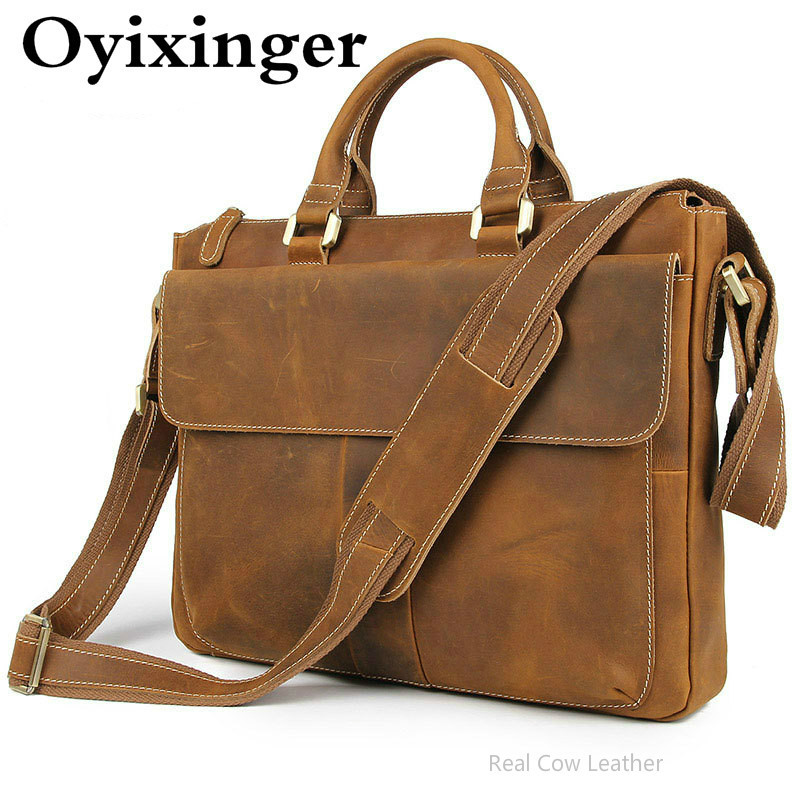 OYIXINGER Men's Genuine Leather Handbags Office Bags For Men Messenger Bag Male Business Briefcase Laptop Bag Maletines Hombre