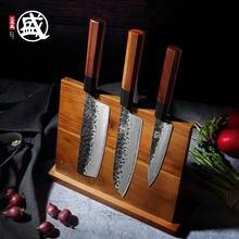 Mitsumoto sakari acacia madeira magnética faca titular com ímã poderoso grande durável acácia faca de madeira bloco sem facas