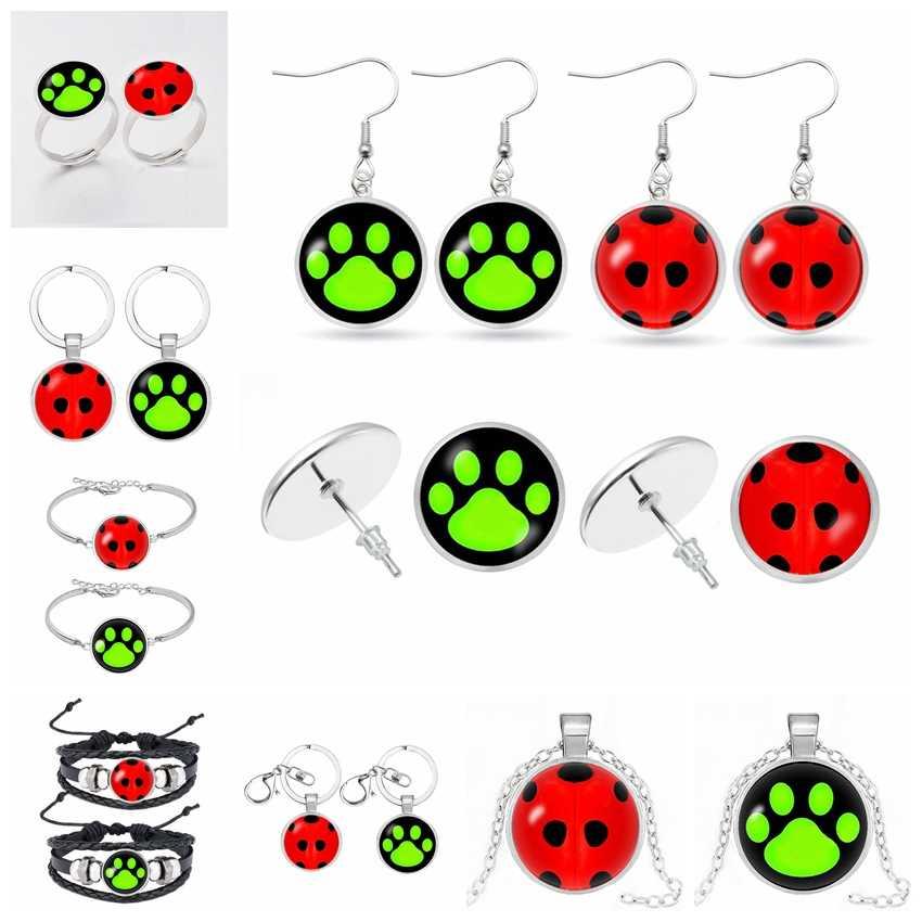 Modna biżuteria biedronka kot Noir Cartoon Noir zielony pierścień Pawprint mężczyzn i kobiet biżuteria prezent na boże narodzenie