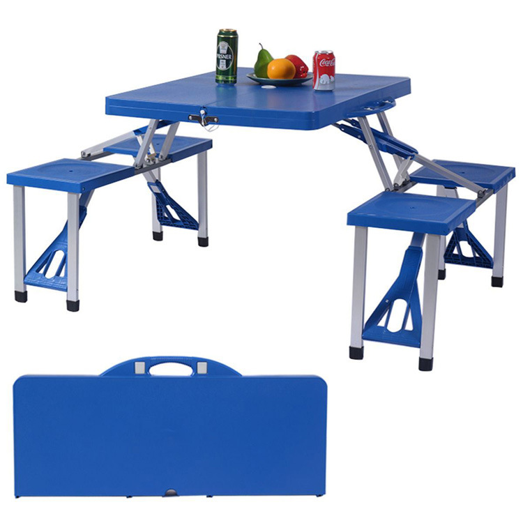 Outdoor Plastic One Piece Portable Picnic Barbecue Multi Purpose Folding Table And Chair Folding Chair